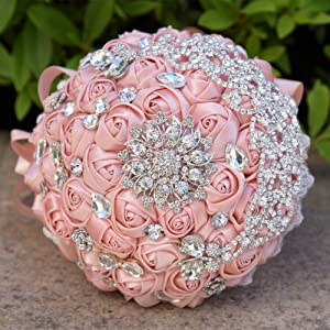 Abbie Home Sparkle Rhinestone Brooch Bouquet - Satin Rose Quinceanera Bouquets Bride Bridesmaids Wedding Flower with Crystal Jewelry Ribbon Décor (Blush Pink)