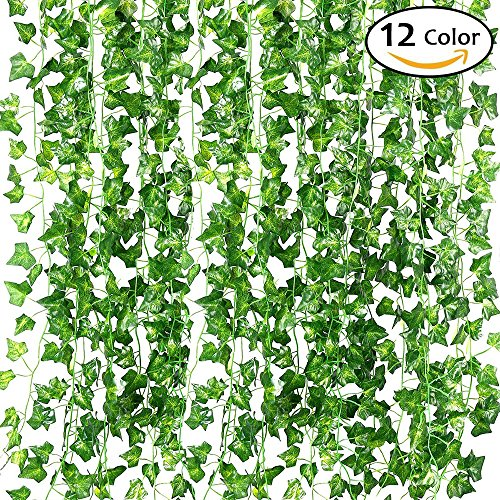 QC Life 84 FT Artificial Ivy Fake Greenery Leaf Garland Plants Vine Foliage Flowers Hanging for Wedding Party Garden Home Kitchen Office Wall Decoration(12 Pack) - Vine Wall
