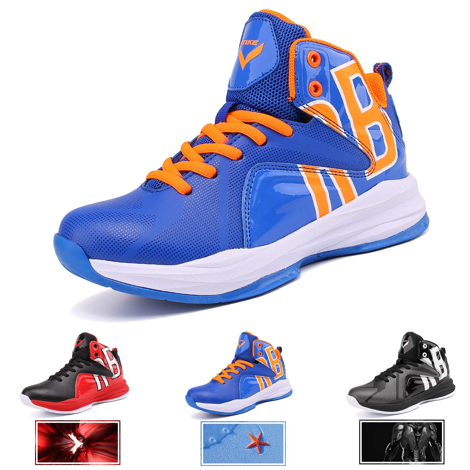 WETIKE Boy's Basketball Shoes Lace Up High-Top Sneaker Outdoor Trainers for Unisex Kids Durable Sport Shoes (Little Kid/Big Kid) (1M US Little Kid, Lucky Blue)