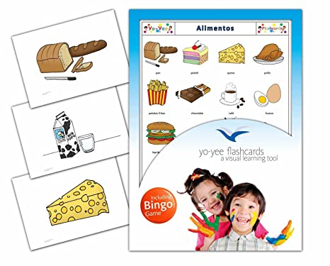 Amazon.com: Food Flashcards in Spanish Language - Flash Cards with Matching Bingo Game for Toddlers, Kids, Children and Adults - Size 4.13 × 5.83 in - DIN ...