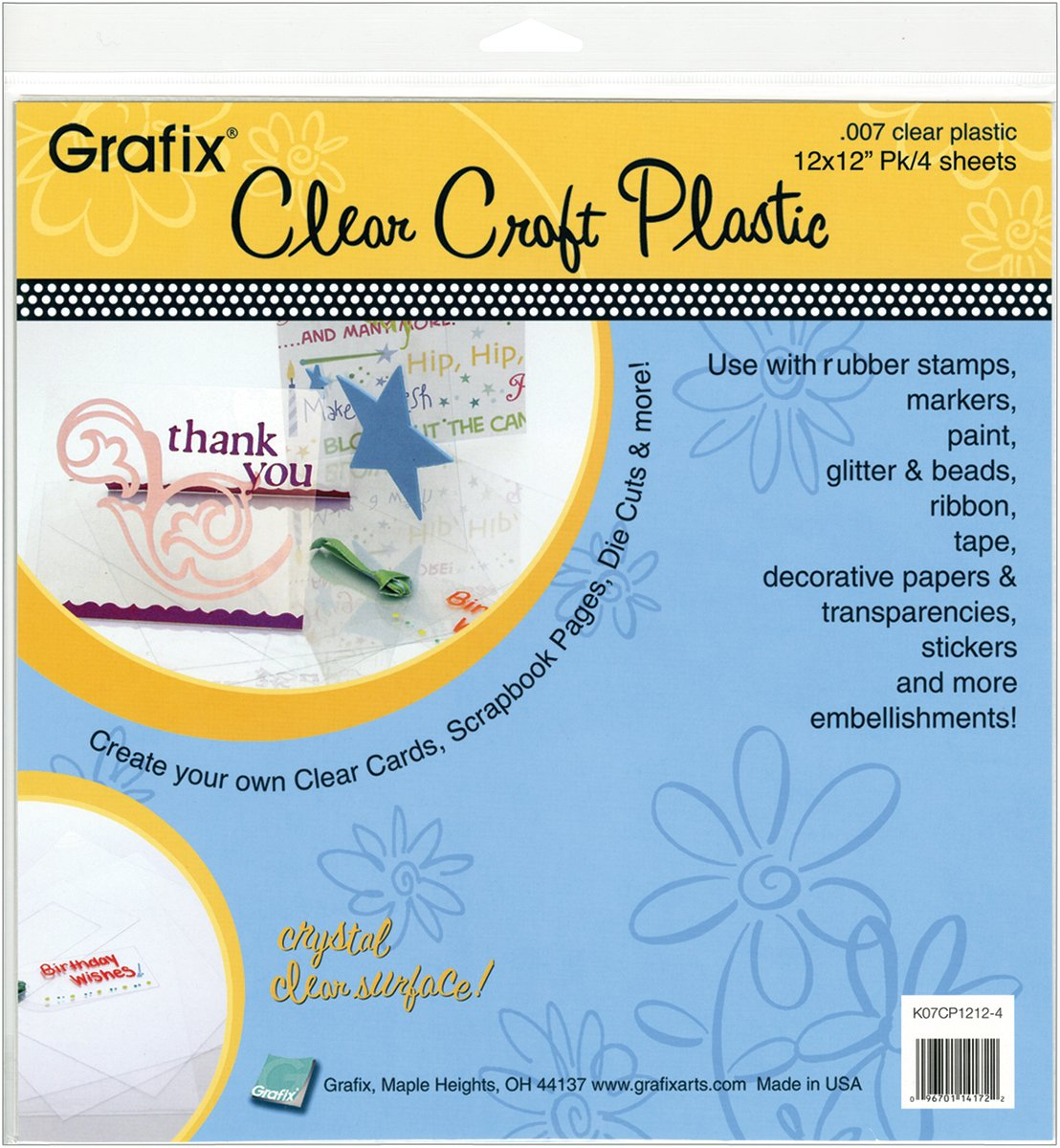 25//Pkg Grafix Craft Plastic Sheets 12-Inch by 12-Inch Clear .020