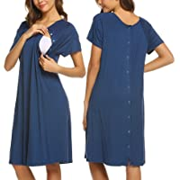 Ekouaer Women's Nursing/Delivery/Labor/Hospital Nightdress Short Sleeve Maternity Nightgown with Button S-XXL