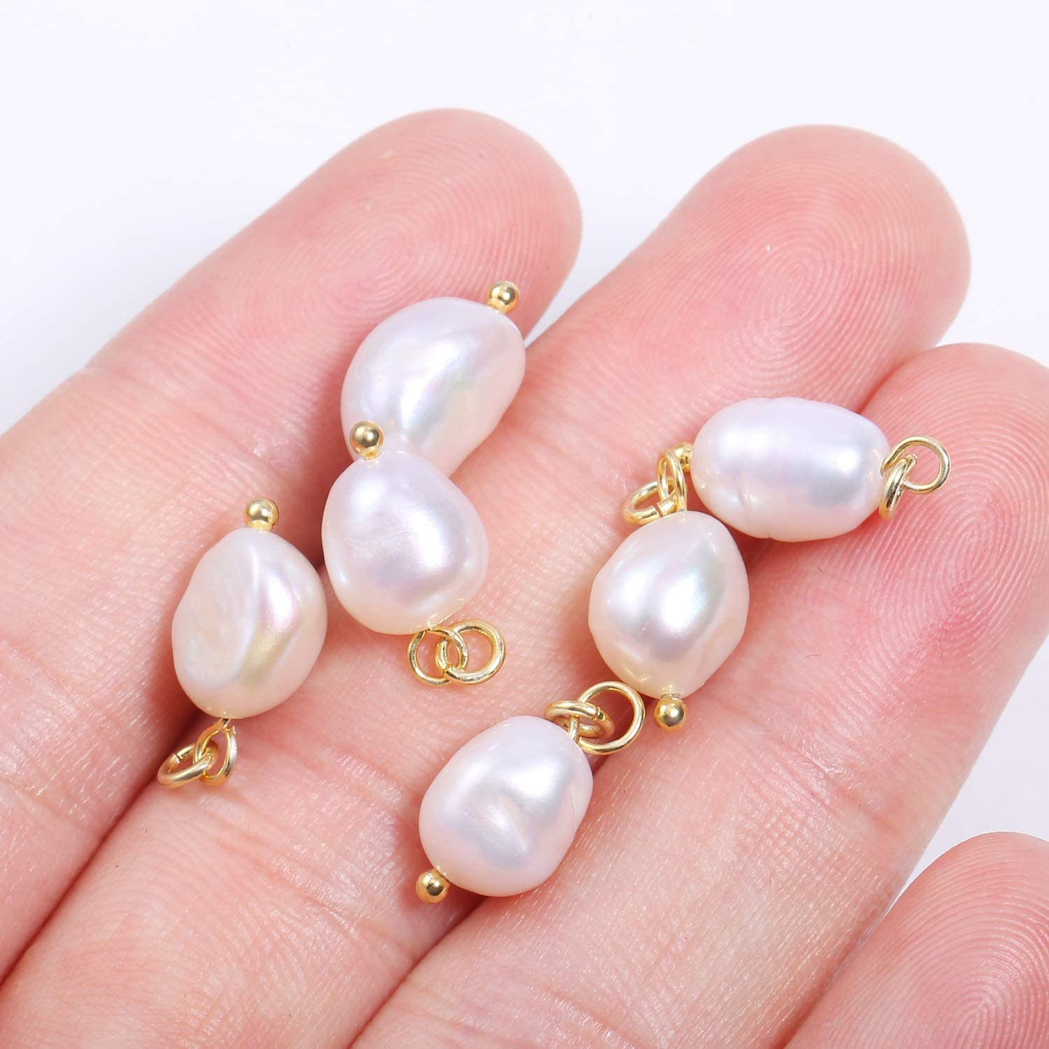 6PCS Flat Freshwater Pearls Pendant,Baroque Pearl Pendant Charms for Pearl Earring Necklace Making