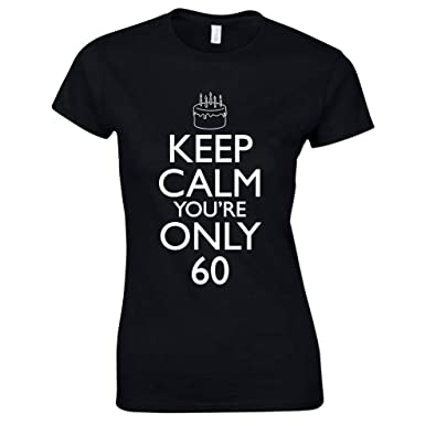 Bang Tidy Clothing Womens 60th Birthday T Shirt Keep Calm Gifts S Black