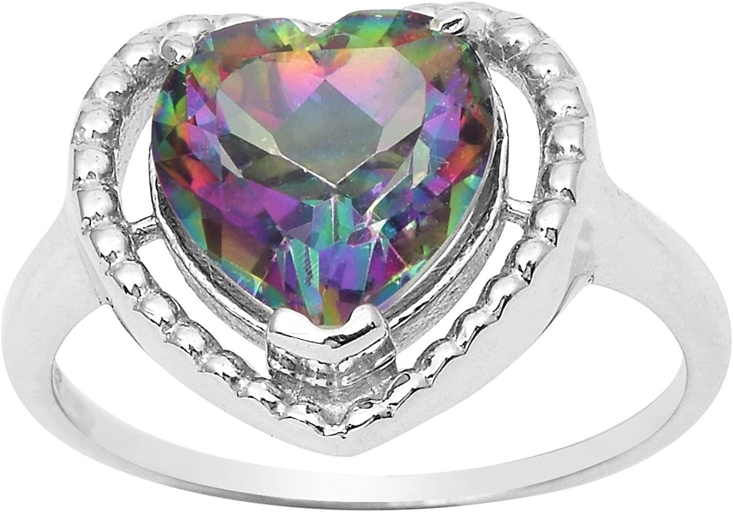 Shine Jewel Mystic topaz heart gemstone 925 sterling silver valentine '' heart '' forma anillo para mujer