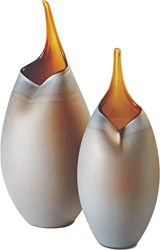 Global Views Frosted Amber Modern Tear Droplet Vase Set 2 Abstract Brown Gray Sculpture
