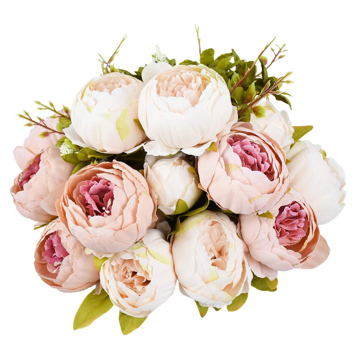 Sunm boutique 2 Pcs Artificial Peony Silk Flower Leaf Home Bridal Wedding Party Festival Bar Decor (Pink, 2 Pcs) by Sunm boutique