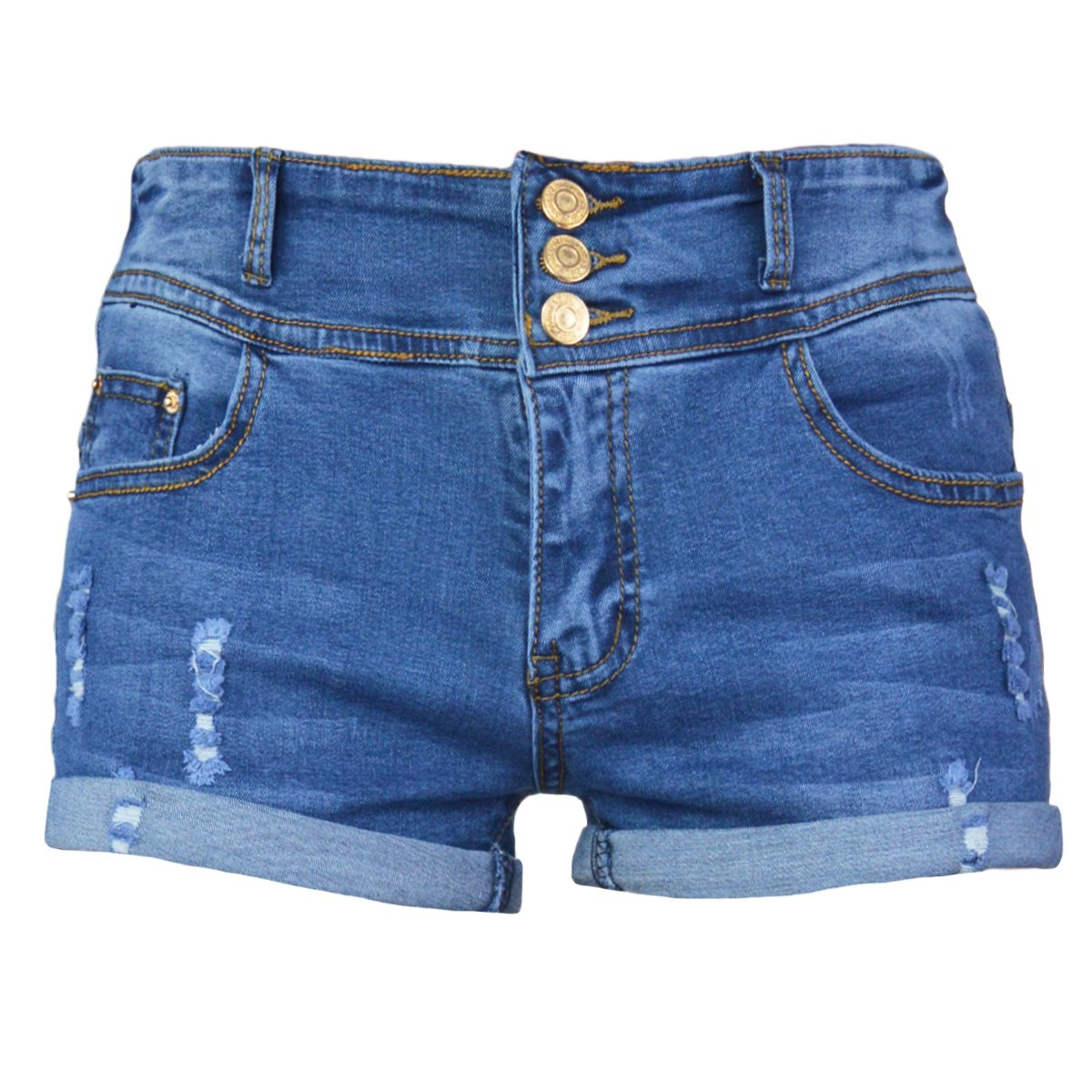 PHOENISING Women's Comfy Denim Pants Stretchy Ripped Hole Short Shorts, Size 6-20