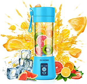 Portable Blender,Zjj-Home Smoothie Blender-Six Blades in 3D, Mini Travel Personal Blender with USB Rechargeable Batteries,Household Fruit Mixer,Detachable Cup ,USB Juicer Cup 380ml (FDA BPA free) (blue)