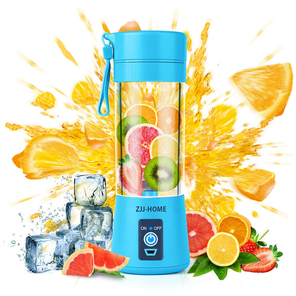 Portable Blender,Zjj-Home Smoothie Blender-Six Blades in 3D, Mini Travel Personal Blender with USB Rechargeable Batteries,Household Fruit Mixer,Detachable Cup,USB Juicer Cup (FDA BPA free) (blue) by Zjj-Home