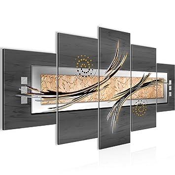 Bilder Abstrakt 5 teilig Wandbild 150 x 75 cm Vlies - Leinwand Bild XXL  Format Wandbilder Wohnzimmer Wohnung Deko Kunstdrucke Grau 5 Teilig - MADE  IN ...