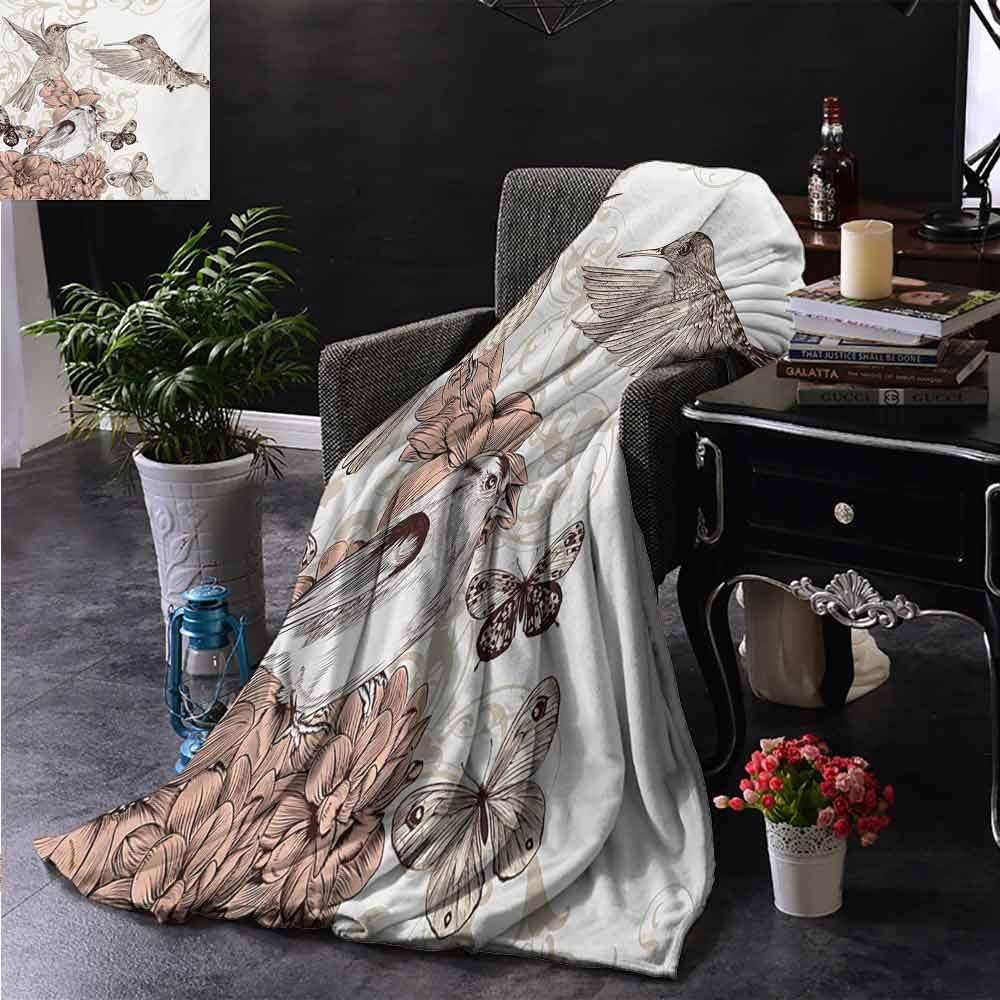 PCNBDJC Multipurpose Blanket Hummingbird Vintage Style Artwork with Birds Butterflies on Blossoms Ornamental Background Soft to The Touch W60 x L91 Inch Brown Tan