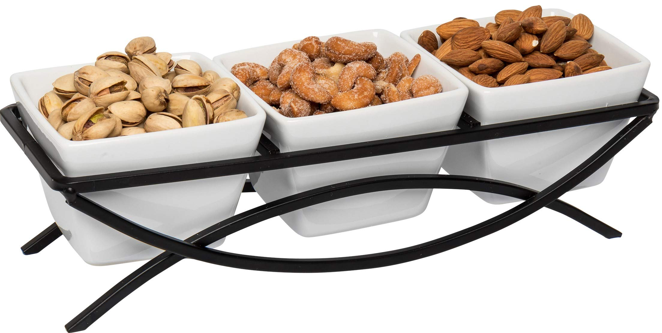 Food Serving Bowl Set: Decorative Metal Display Stand with 3 White Stoneware Bowls | Perfect for Condiments, Appetizers, Nuts, and Snacks