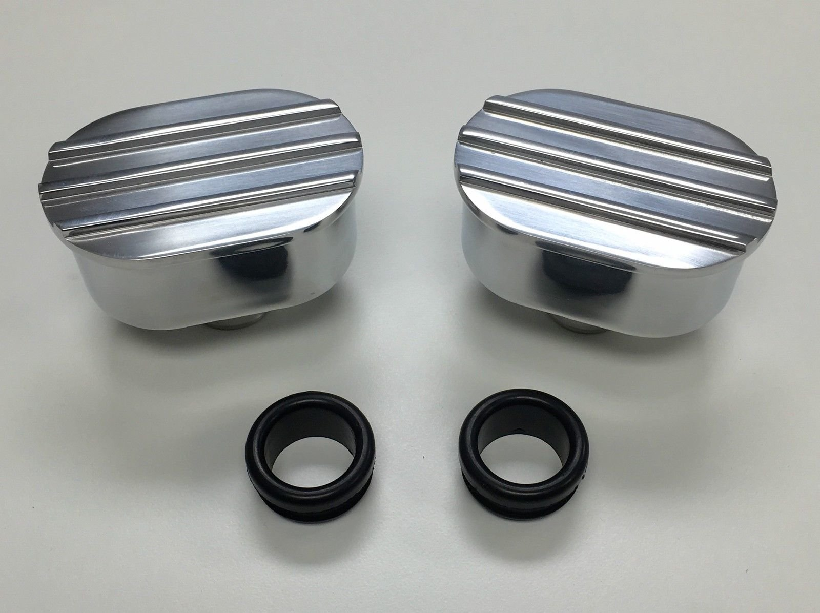 Hot Rod Oval Finned Polished Valve Cover Breather Kit W/ Grommet SBC BBC V8