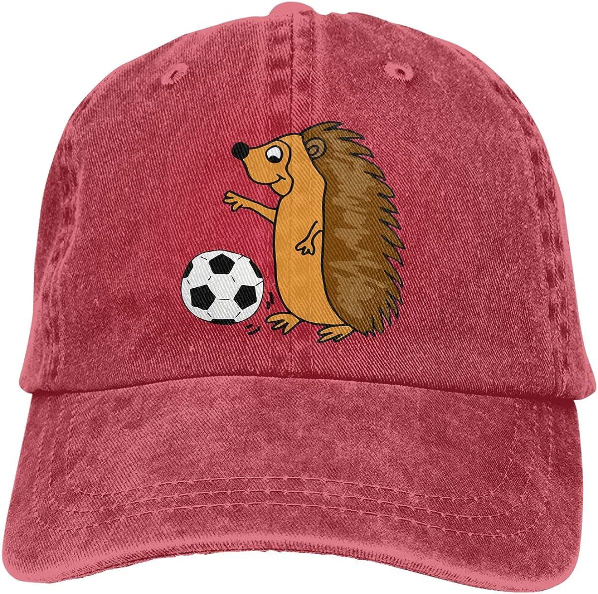 Adult Fashion Cotton Denim Baseball Cap Cute Hedgehog Playing Soccer Cartoon Classic Dad Hat Adjustable Plain Cap
