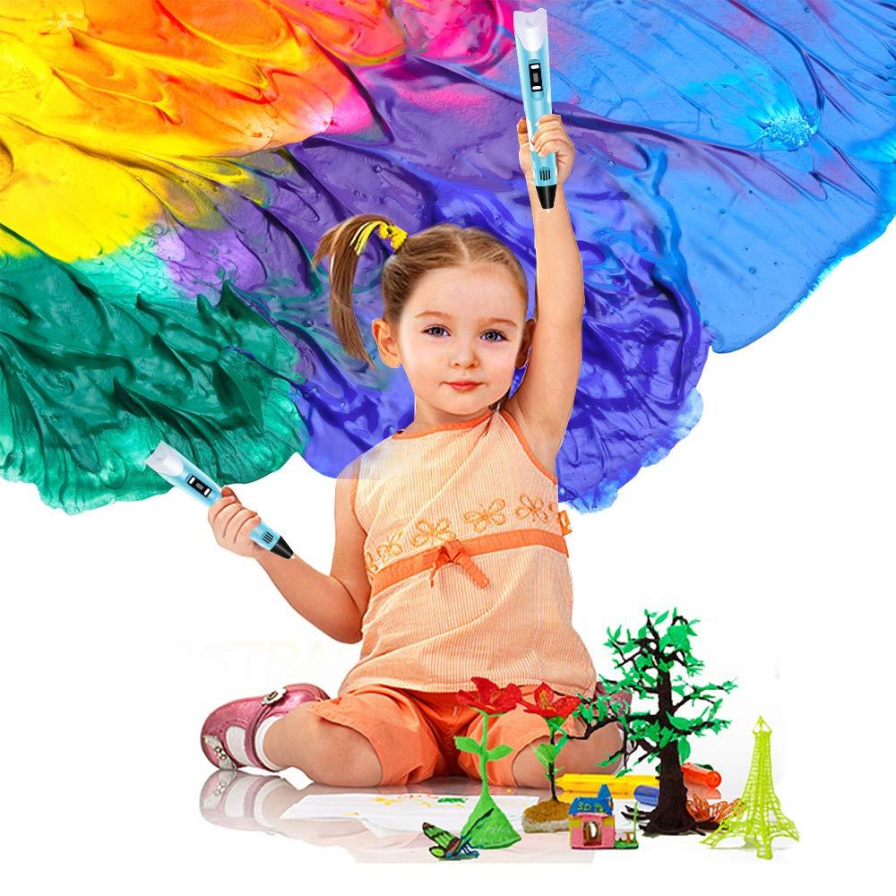 3D Drawing Printing Printer Pen Bonus 150 Feet 12 Colors LCD Display 3D Drawing Stencils Perfect Gift Art Crafts for Kids /& Adults 2 Glow +3 Colors Random PLA Filament Refills Ksera 3D Pen