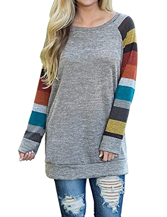 adaa004c10 ISASSY Damen Langarm T Shirt Bluse Oberteile Tops Pullover: Amazon ...