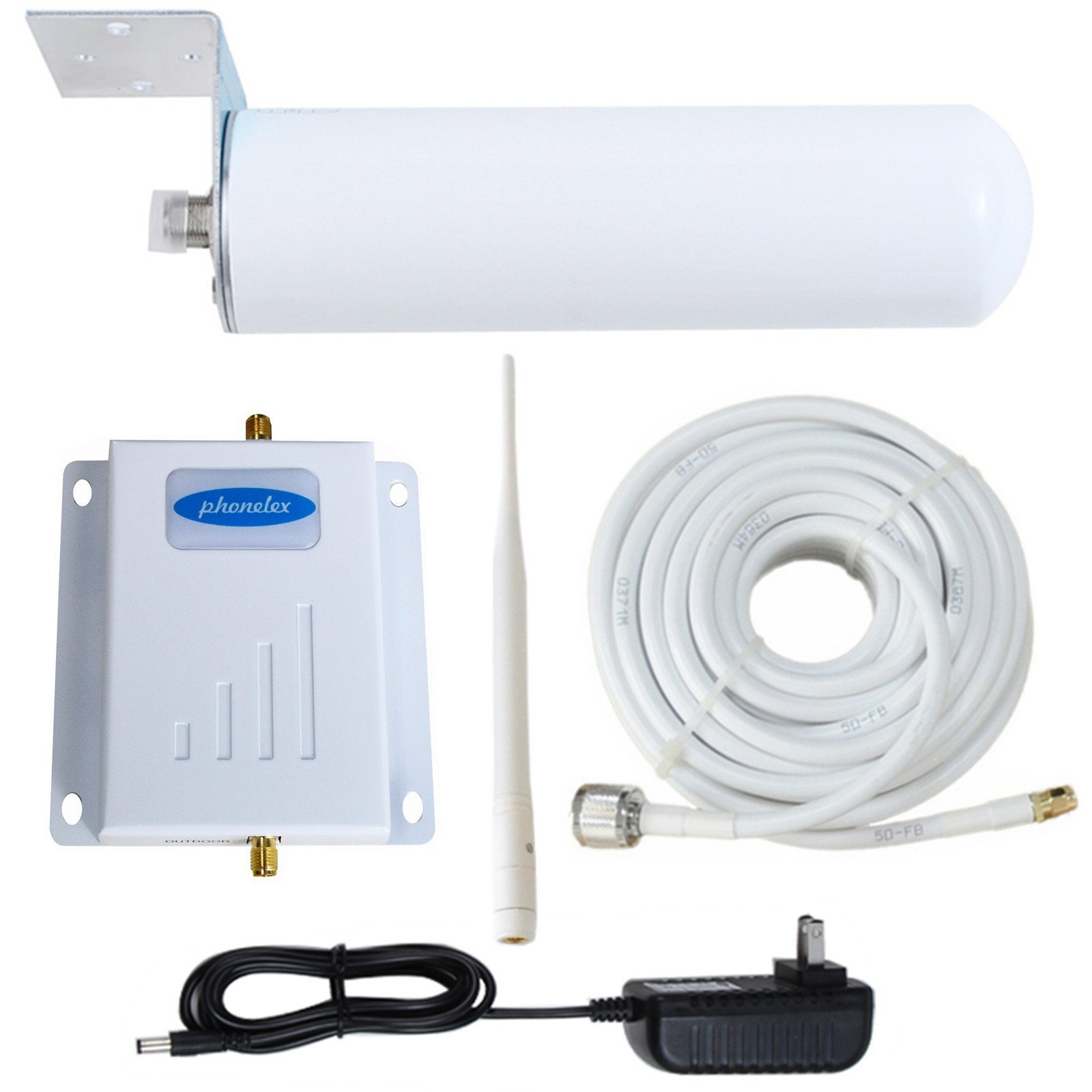 Phonelex GSM 2G 3G 4G CDMA Band2 1900MHz Cell Phone Signal Booster Repeater Mobile signal Amplifier with Indoor Whip Antenna and Outdoor Omni-Directional Antenna for home Office basement warehouse