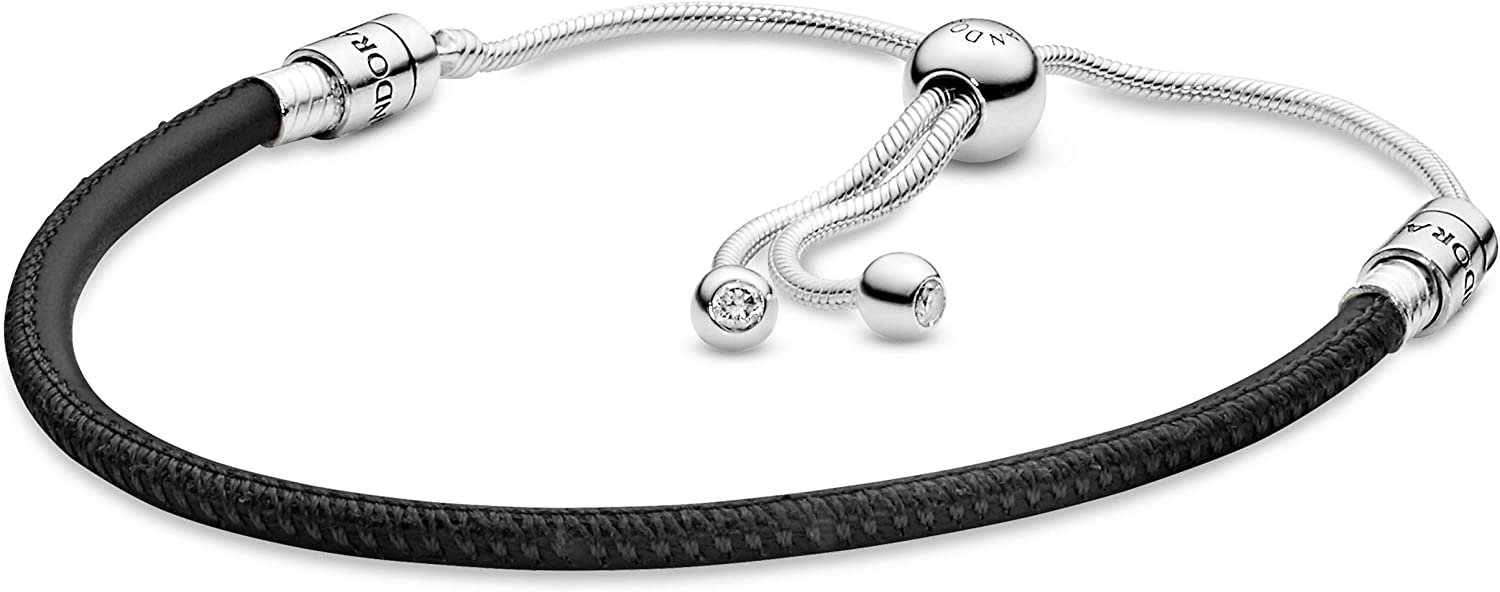 Amazon Com Pandora Jewelry Double Leather Cubic Zirconia Bracelet In Sterling Silver 11 Clothing