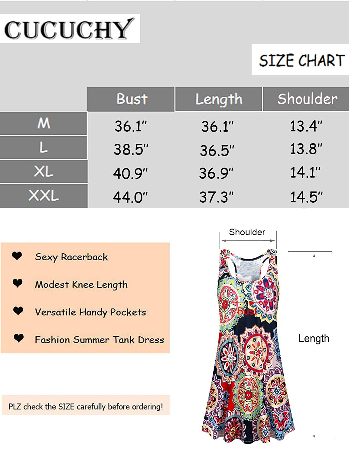 cb67102b57631 Amazon.com: Cucuchy Womens Summer Tank Dress Floral Flowy Racerback Scoop  Neck Tunic Dresses: Clothing