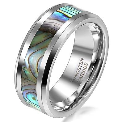 JewelryWe Anillo 8 mm tungsteno de carburo banda brillante con concha de abulón alizans de boda