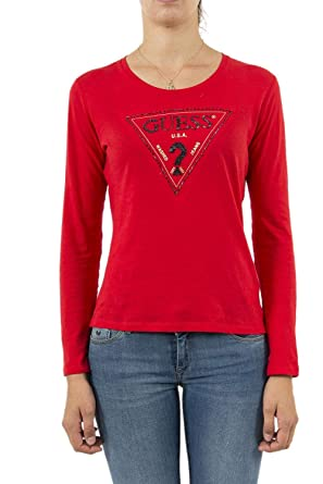 4a96a0c8df1d Guess Triangle, Long Sleeve T-Shirt for Women.: Amazon.co.uk: Clothing