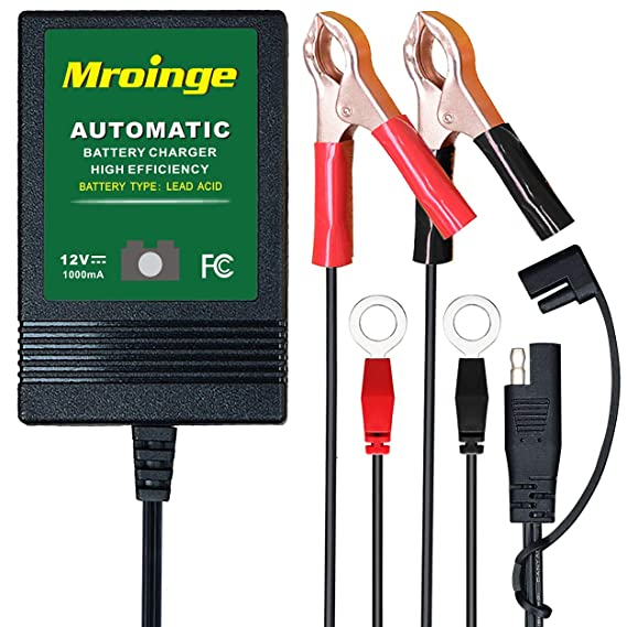 Mroinge MBC010 Automotive Trickle Maintainer 12V 1A Smart Automatic Charger for Car Motorcycle Boat Lawn Mower SLA ATV Wet Agm Gel Cell Lead Acid ...