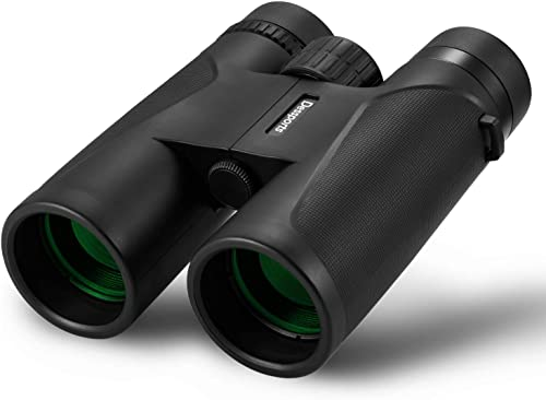 Dessports 12×42 Binoculars for Adults, Compact Lightweight Binocular HD Professional Optics, Low Light Night Vision Telescope Perfect for Bird Watching Hunting Concerts Sports Games with BAK4 FMC Lens