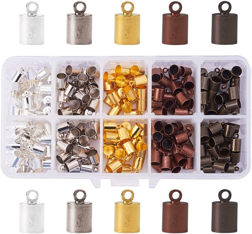 PH PandaHall 200PCS 5 Color Brass Leather Ends Cord Glue in Barrel End Caps, Leather Cord Finding Kit for Kumihimo Jewelry and Tassel Making, 5.5mm