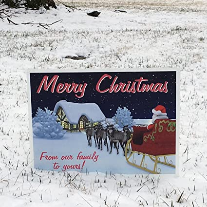 amazoncom victorystorecom merry christmas yard sign from our family to yours 2 ez stakes garden outdoor