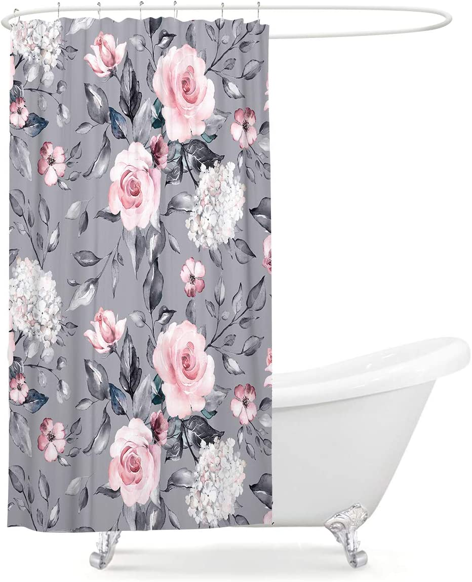 LIGHTINHOME Floral Shower Curtain 36Wx72L Inch Small Stall Vintage Blossom Flower Pink White Blooming Roses Grey Background Spring Leaves Garden Plants Home Bathtub Decor 12 Pack Plastic Hook