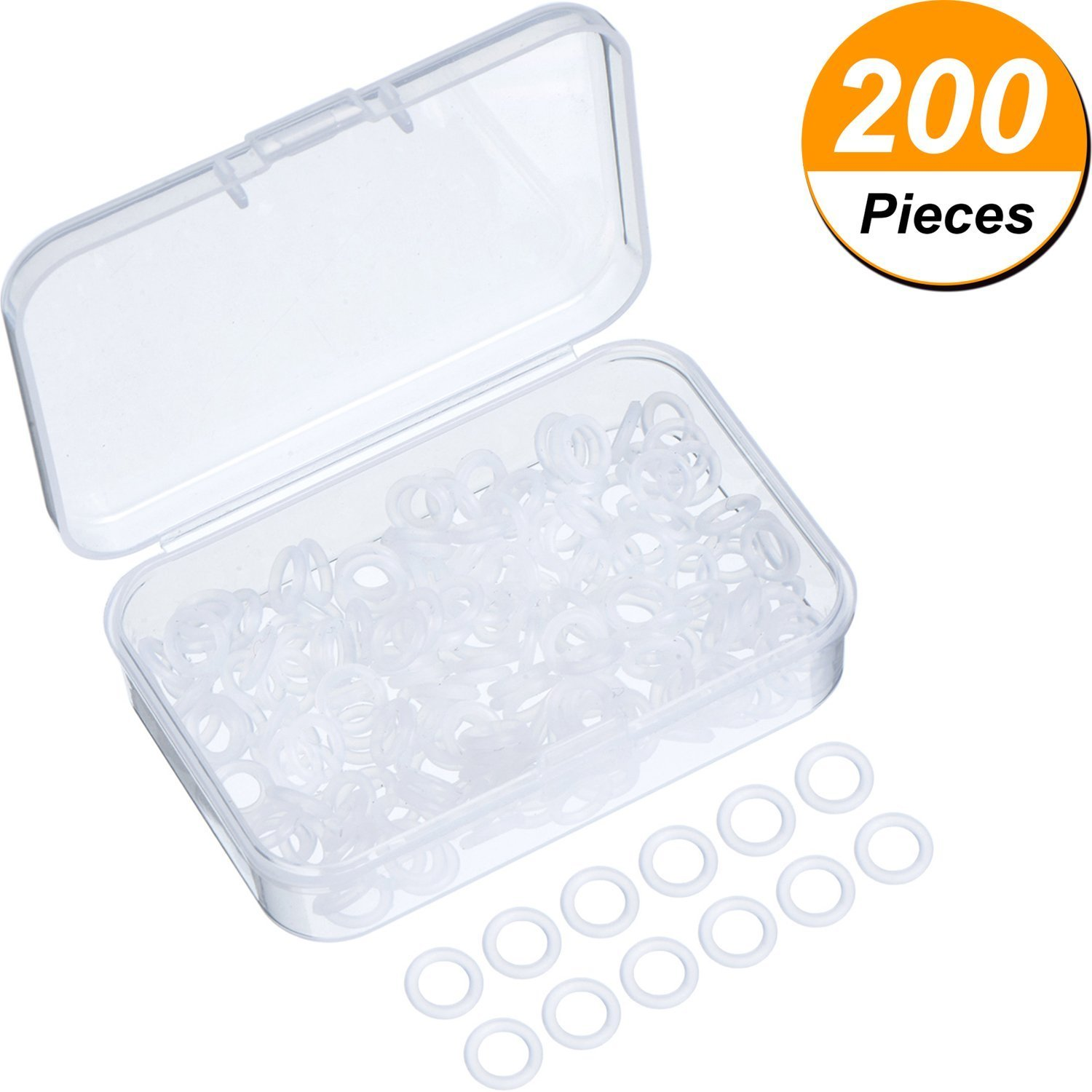 200 Pieces Rubber Rings Clear Seal O-ring Rubber Keyboard Dampeners with Plastic Storage Box for MX Switch Keyboard and Mechanical Keyboard Keys SGerste