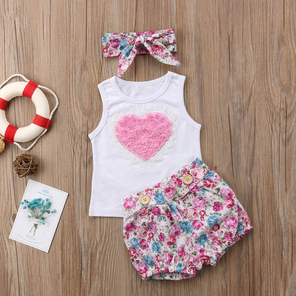 Rosa Forma de Corazon Camiseta sin Mangas Banda de Pelo Ropa Bebe Ni/ña Recien Nacido Verano 0 a 3 6 12 18 24 Meses Pantalones Cortos Florales 3PC//Conjunto