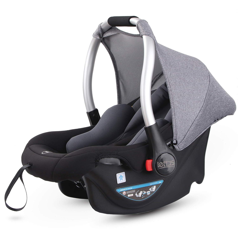 12 Monate ECE-R 44//04 nutzbar ab der Geburt bis ca LETTAS Babyschale Baby-Autositz mit Sonnenverdeck Gruppe 0+ Kindersitz 0-13 kg
