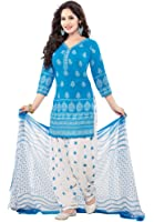 Salwar Studio Women's Blue & White Synthetic Floral, Chevron Printed Unstitched Patiyala Suit with zari border