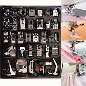YEQIN 32 PCS Domestic Sewing Foot Presser Feet Set for Singer, Brother, Janome,Kenmore, Babylock,Elna,Toyota,New Home,Simplicity and Low Shank Sewing Machines