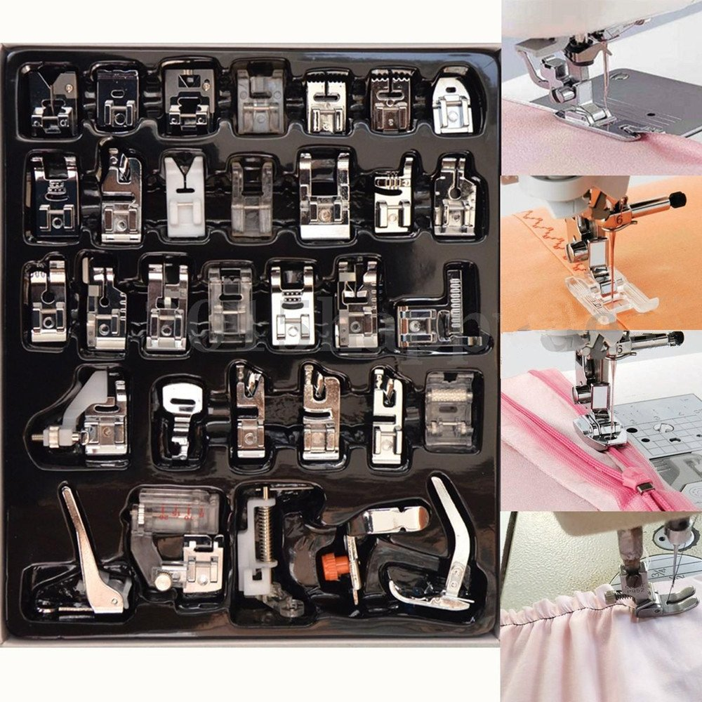 Singer YEQIN Professional Domestic 52pcs Sewing Foot Sewing Machine Feet Presser Feet Set with Plastic Storage Box for Brother Janome and Kenmore Low Shank Sewing Machine Babylock,Toyota,New Home