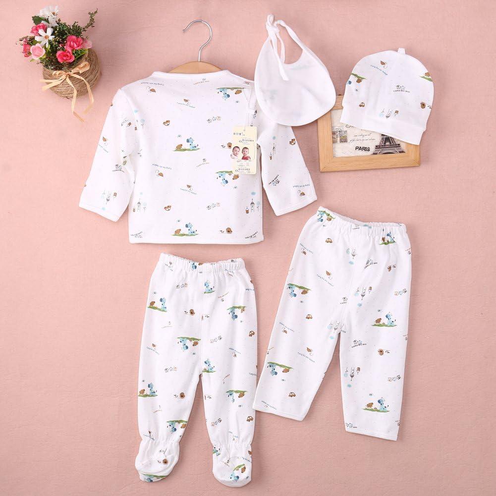 0-3M Newborn Baby Layette Set Unisex Infant Cotton Clothes Tops Hat+Pants Suit 5 Pieces Outfit Sets
