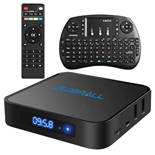 Globmall Android 6.0 Smart TV Box with Mini Wireless Qwerty Keyboard, 2017 Model X1 4K 1G RAM 8G ROM TV Box ROM with Quad Core CPU 64 Bit Amlogic Real Support 4K WiFi 2.4GHz Bluetooth 4.0 OTG