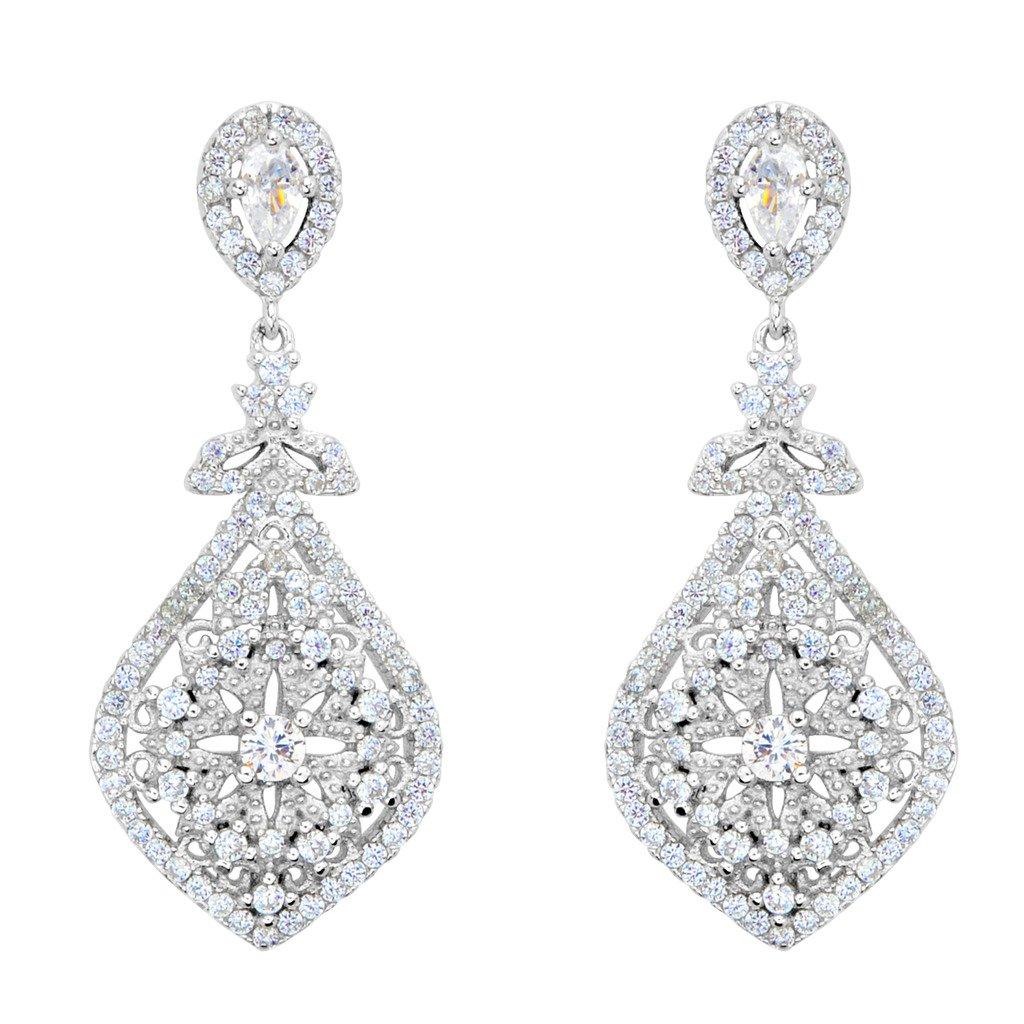 EVER FAITH 925 Sterling Silver Cubic Zirconia Gatsby Inspired Chandelier Teardrop Earrings Clear