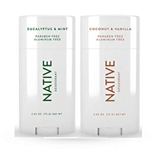 Native Deodorant - Natural Deodorant For Women and Men - 2 Pack - Aluminum Free, Free of Parabens - Contains Probiotics - Coconut & Vanilla And Eucalyptus & Mint