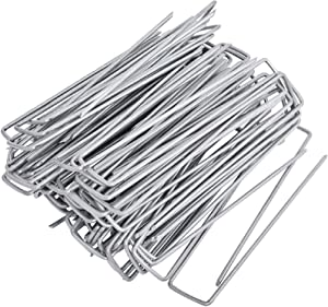 labworkauto Galvanized Garden Staples Landscape Ground Nails Stakes Pins Spikes Pegs U-Shaped 6 11 Gauge Steel Fit for Securing Weed Barrier Fabric Landscape Ground Cover Lawn 100pcs