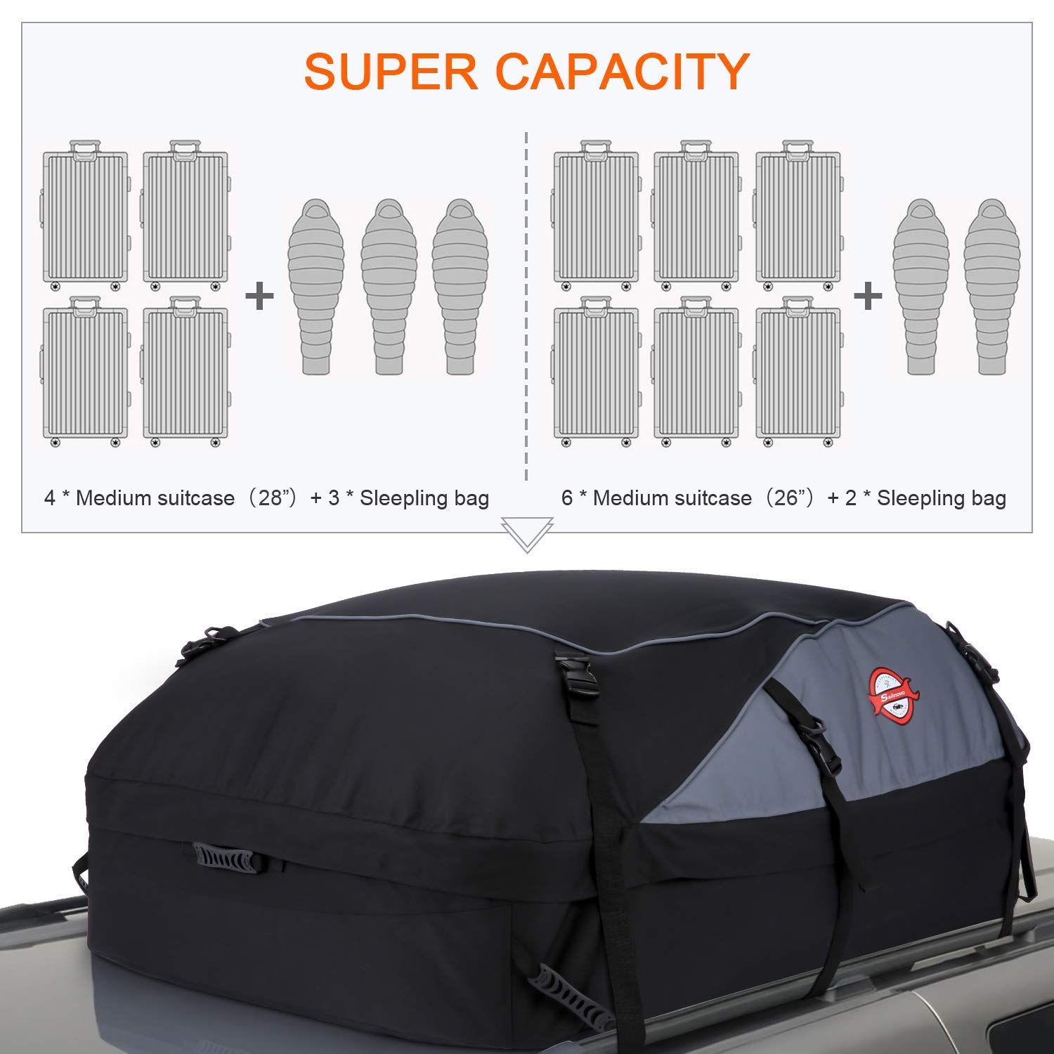 US Stock cosway 20.7 Cubic Feet Waterproof Car Vehicles Roof Top Cargo Carrier Easy to Install Luggage Travel Storage Bag