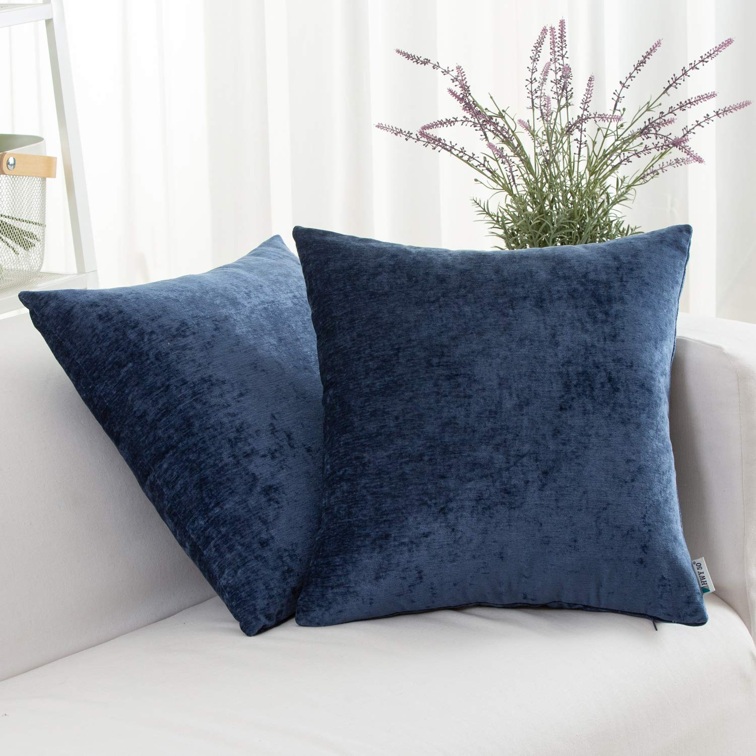 Covers Set Cushion Case for Couch Bed Living Room 18x18 Inches Blue Comfortable Pack of 2