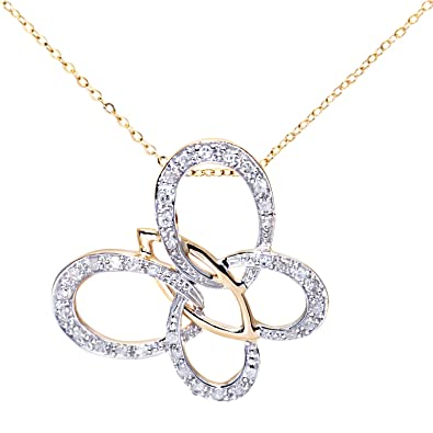 Carissima Gold 9ct Yellow Gold Diamond Cut and Milgrain Butterfly Pendant Necklace of Length 46cm 7wShs