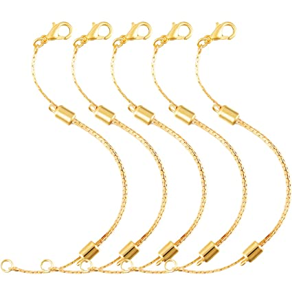 Gold 5 Pieces Stainless Steel Extender Chain Adjustable Necklace Chain Extender with Lobster Clasp for Necklace Bracelet Jewelry Making
