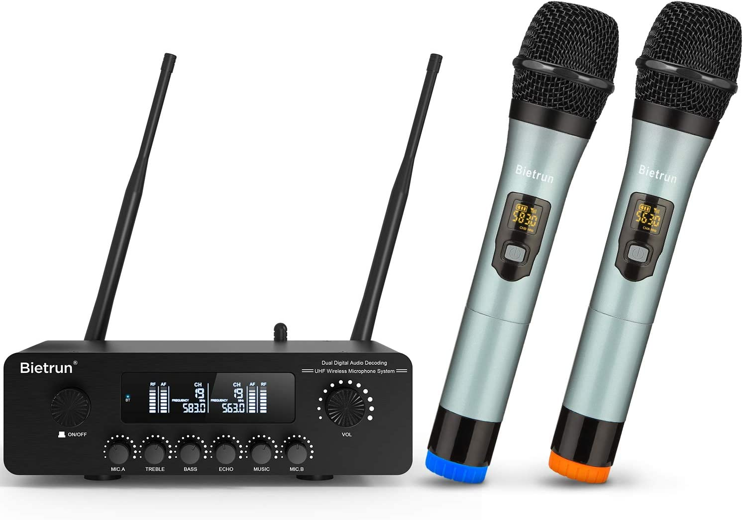 Wireless Karaoke Microphone for Smart TV, with Echo/Treble/Bass&Bluetooth, UHF 165 ft Range, LCD Display, Digital Optical&Coaxial Input, Dual Dynamic Metal Mic System, for TV, BT/PA Speaker, AMP, PC