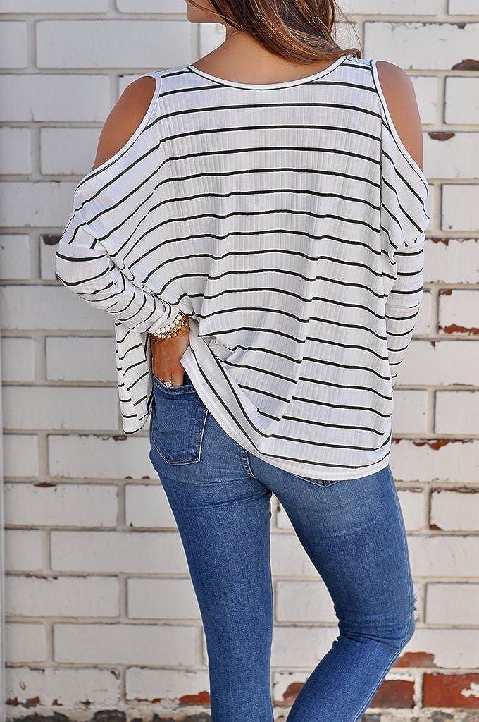 Boutiquefeel Camiseta A Rayas con Abertura en Hombros Blusa Casual para Mujer: Amazon.es: Ropa y accesorios