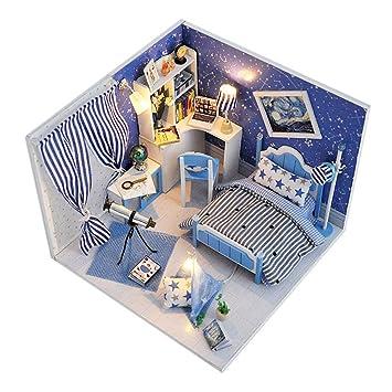 Samber Puppenhaus Miniatur DIY Haus Kit Furnitiure Haus Modell Spielzeug  Geburtstag Weihnachten Geschenk