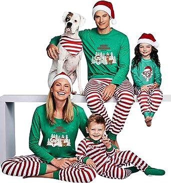 Pijamas Navidad Familia Conjunto Pijama Striped Navideñas ...